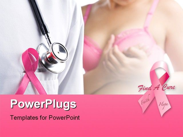 pink for breast cancer | badge and woman in pink bra on background, Powerpoint templates