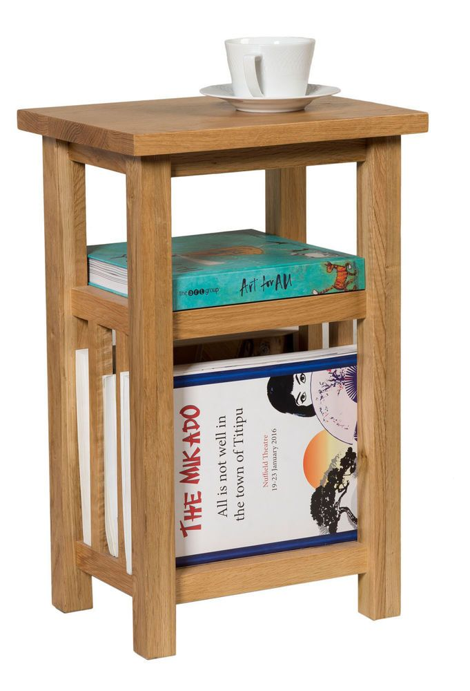Small Oak Magazine Rack Side Table | Wooden Coffee/Lamp/End/ Storage Stand