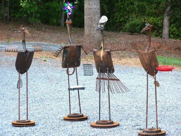 Garden Yard Art Ideas cutest rustic garden art ideas ever Recycled Metal Yard Art Yard Birds Scrap Metal Art