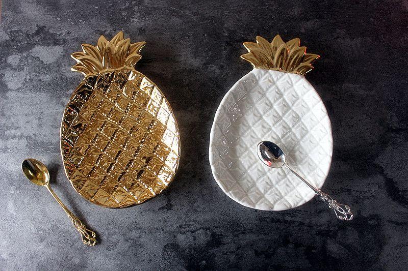 Europe wave Golden pineapple ceramics plate storage bowls