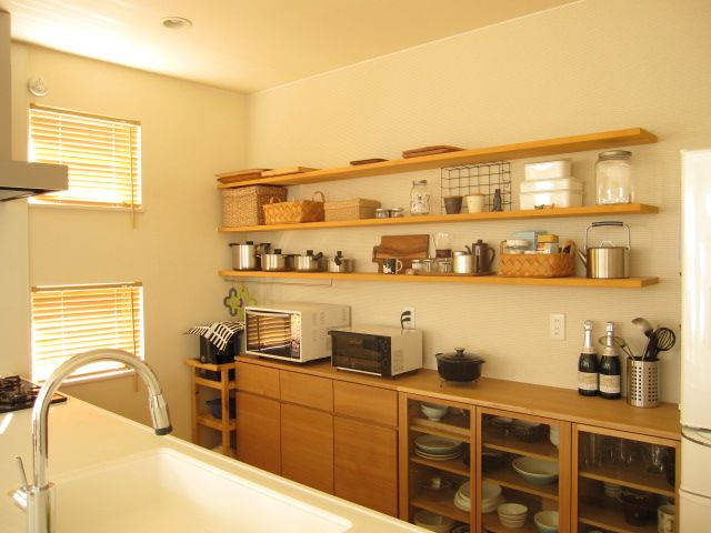 Idea for shelves instead of cabinets  Future Kitchen  Pinterest  부엌, 부엌 ...