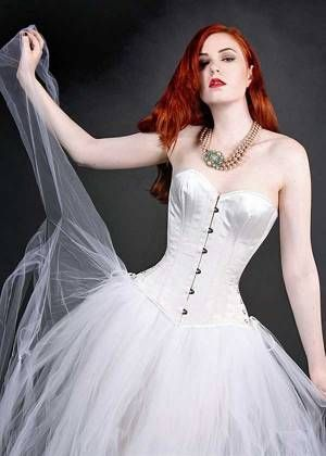 Bridal White Silk Overbust Corset With Steel Boning
