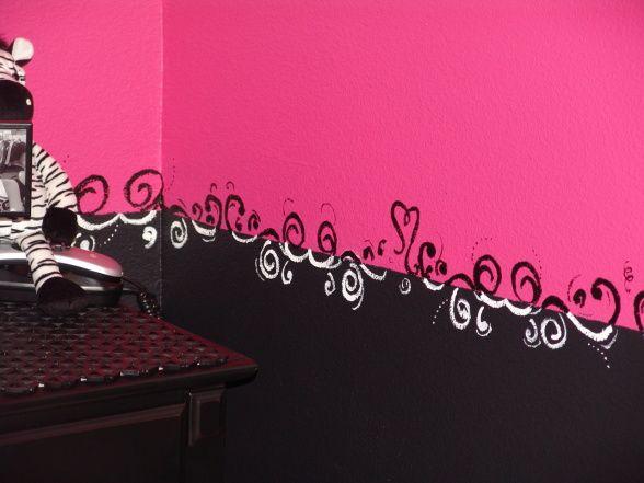 Girl bedroom walls. Pink and Black Zebra Teen Girls Bedroom   Window  Walls and Room