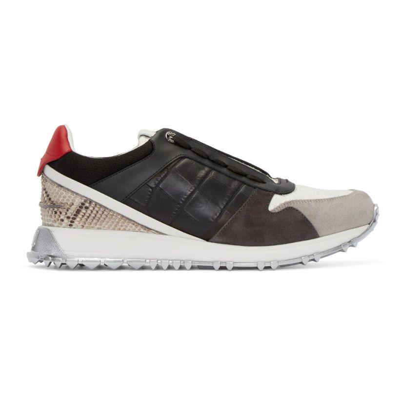 Fendi - Black   Grey Croc-Embossed Sneakers   The Good Foot - Homme ... f8156f54141