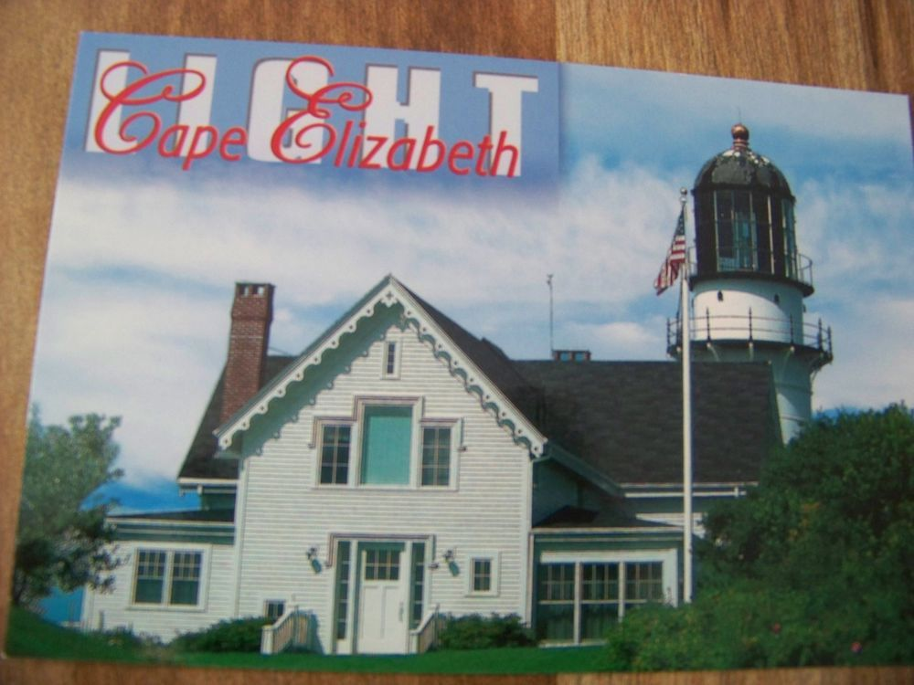 Postcard Of A Cape Elizabeth Light On Card East Tower Of Two