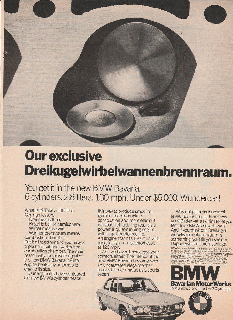 1969-1975 BMW Bavaria vintage ad - Dreikugelwirbelwannenbrennraum