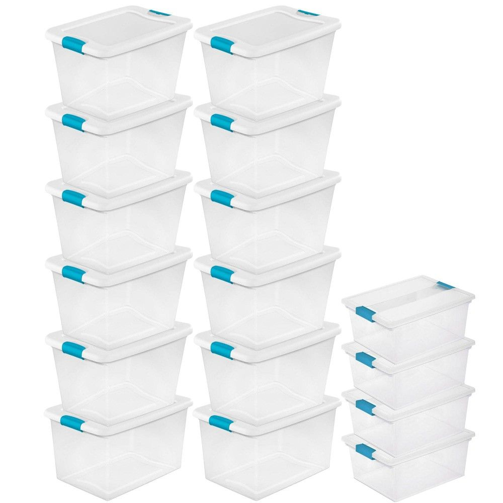 Sterilite 64 Qt Plastic Storage Container 12 Pack And Deep Clip Box 4 Pack In 2020 Plastic Container Storage Plastic Storage Sterilite