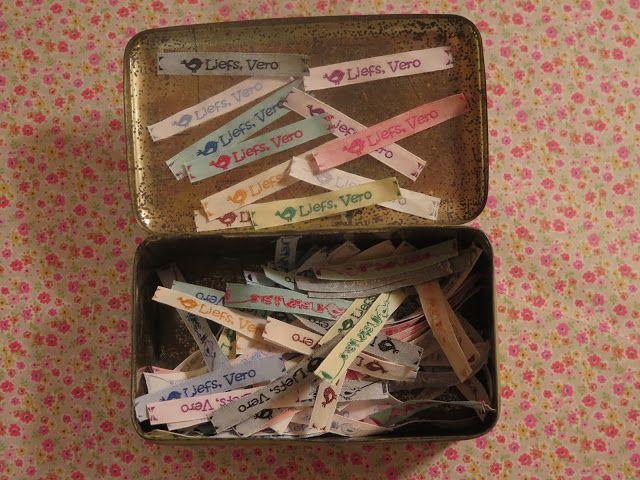 Liefs, Vero: Blij met mijn labeltjes :) ... Genieten van de kleine dingen