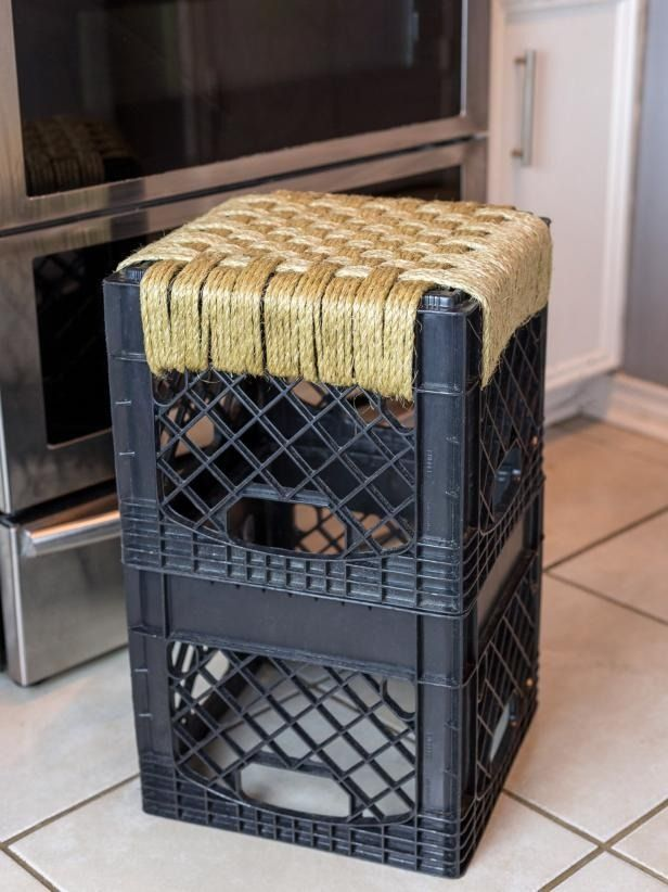 How To Make A Woven Milk Crate Stool Milk Crate Furniture Crate Stools Crate Furniture Diy