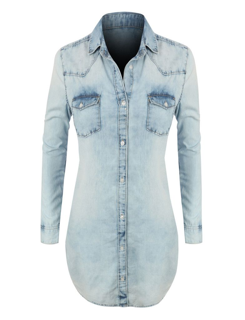 d3bf64b494 LE3NO Womens Classic Loose Fit Chambray Jean Denim Shirt Dress with Pocket