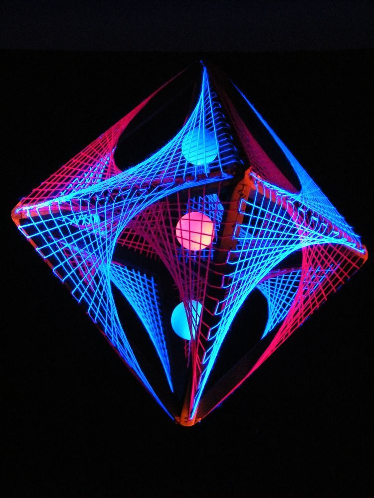 "3d string art deco octahedron: ""pink shadow"". 