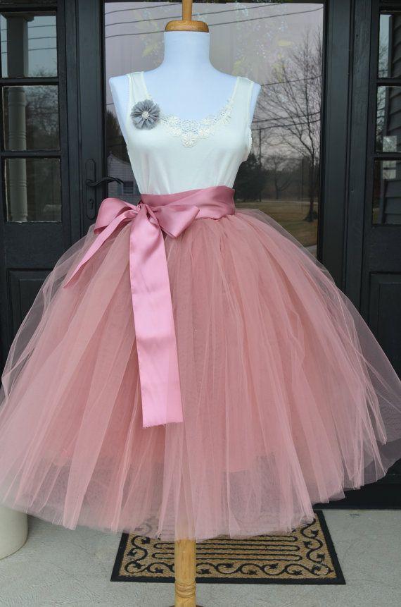 Beautiful tulle skirt made with a pretty rose pink tulle in womens sizes including plus sizes. Skirt is made of 6 layers of the highest