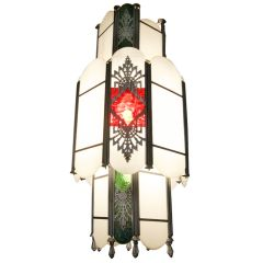 Intricate Art Deco Stained Glass Chandelier | From a unique collection of antique and modern chandeliers and pendants  at https://www.1stdibs.com/furniture/lighting/chandeliers-pendant-lights/