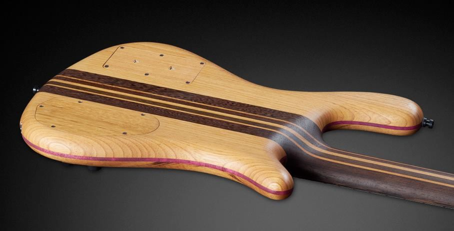 Warwick  Streamer Stage II 5 Left Tigerwood top / Afzelia back with Purple Heart midddle part lamination