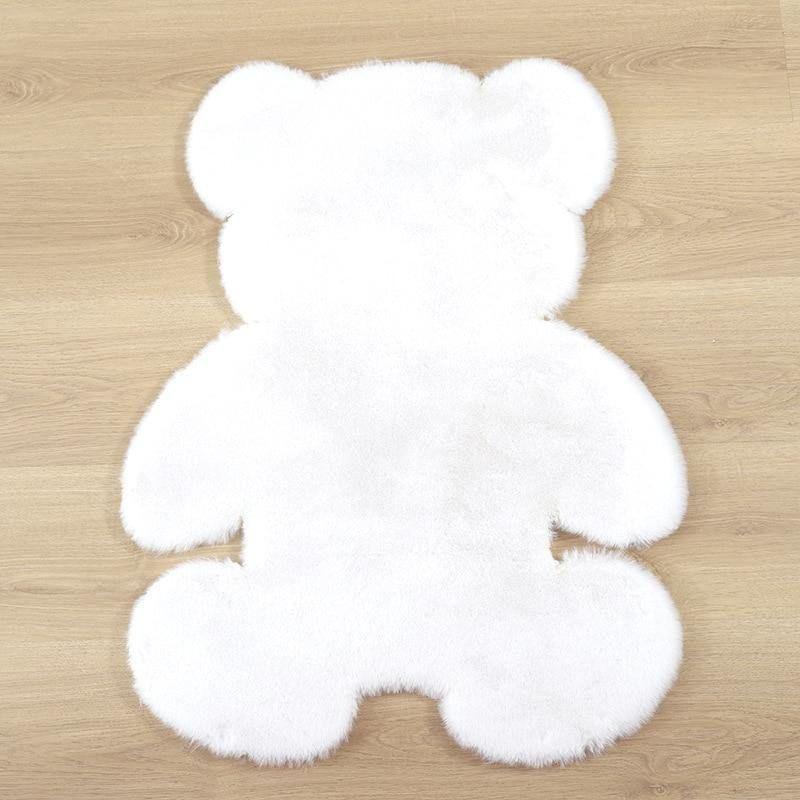 Soft Plush Bear Carpet For Living Room Baby Room Anti-slip Rug Bedroom Water Absorption Carpet Rugs Shaggy Home Floor Mat - white carpet / 140x180cm