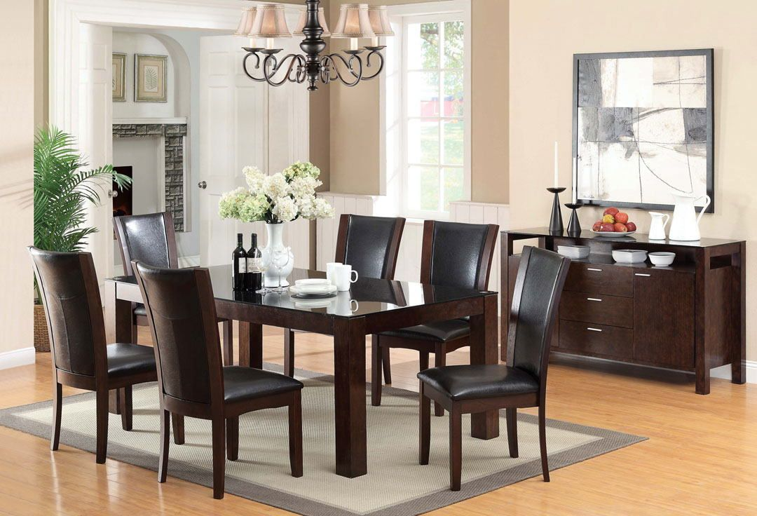 7 Pcastoria I Contemporary Style Dark Cherry Wood Finish Dining Fascinating Cherry Dining Room Chairs Sale Design Ideas
