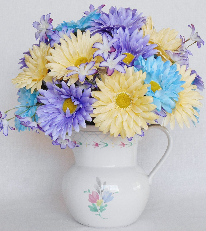 Silk flower arrangement lavender yellow aqua gerbera daisies silk flower arrangement lavender yellow aqua gerbera daisies cream floral pitcher reviewsmspy