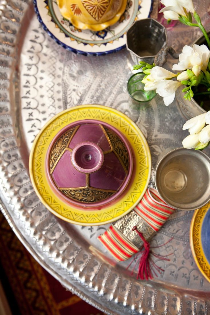 Typical Moroccan Table Service. Hand hammered silver tray and ...