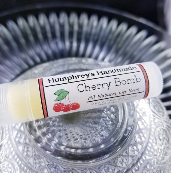 CHERRY BOMB Lip Balm, Sweet Black Cherry Flavor, Jojoba Oil Lip Balm, All Natural Bee Balm, Soft and #jojobaoil