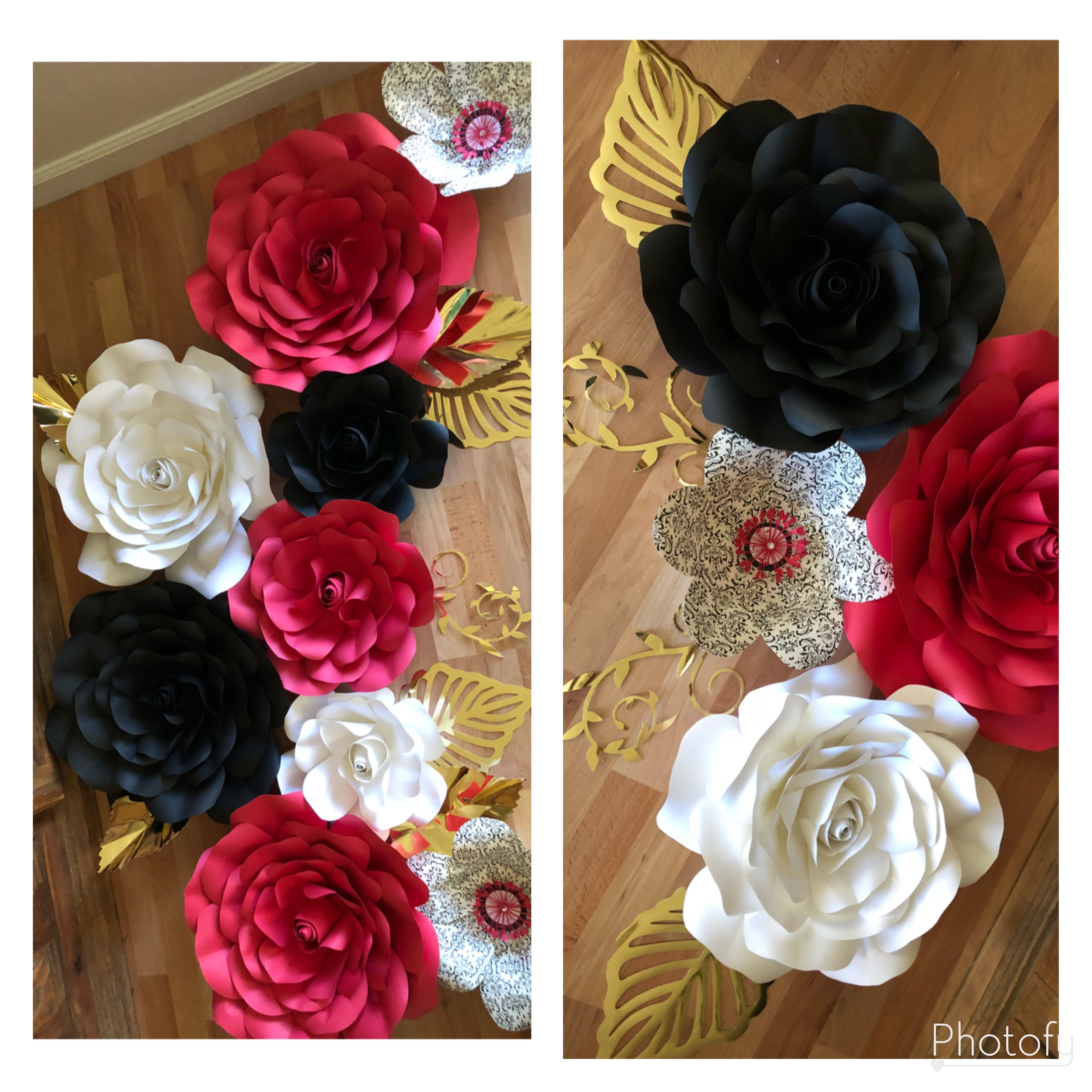 Red Black White And Pattern Paper Flowers With Gold Leaves 15