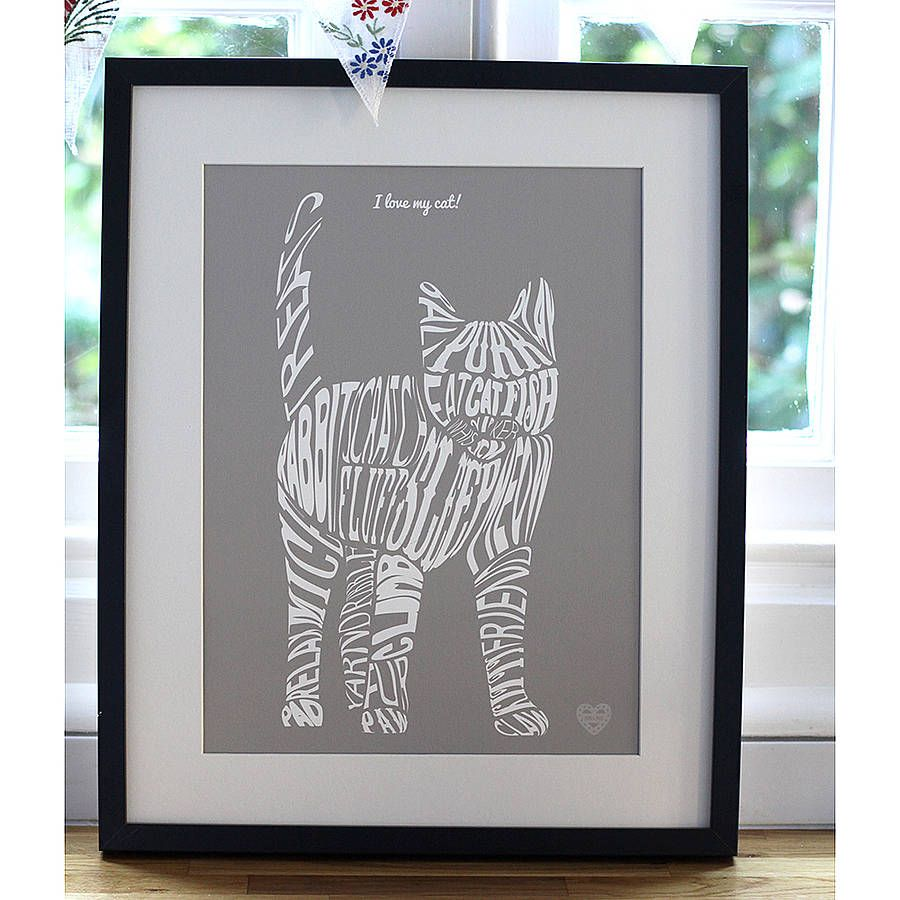 Typographic cat print cat horse and dog