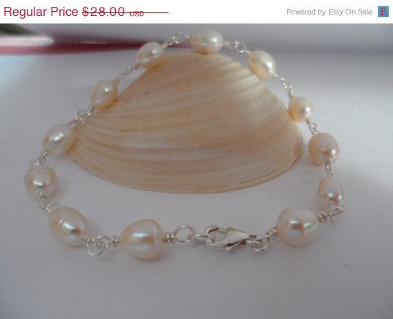 Simply Wire Wrapped Pearl Bracelet  by weddingbellsdesigns on Etsy, $25.20