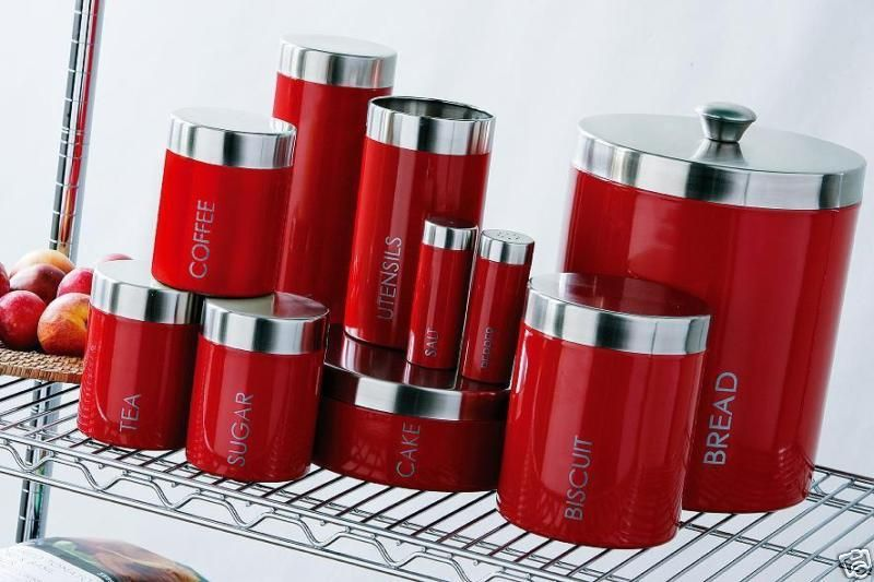 Superior Red Enamel Bread Tea Coffee Sugar Biscuit Canister Etc