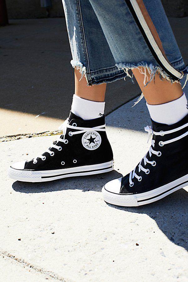 Converse Velvet High Top Sneakers By At Free People Sepatu