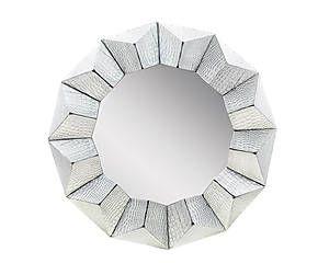 Specchio da parete in ecopelle finiture coccodrillo Stella - d 80 cm