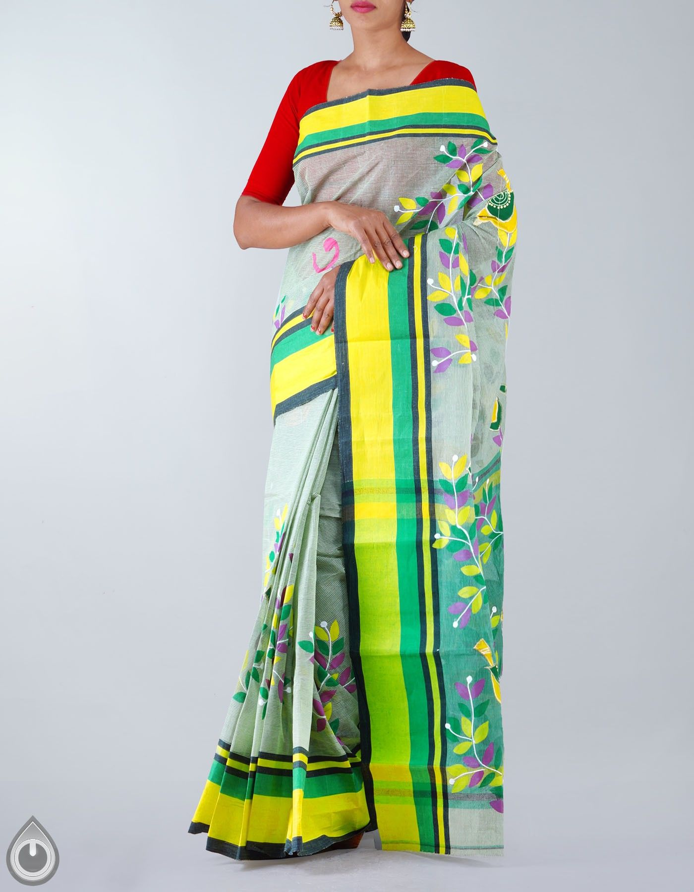 ff4077e947 Green Pure Handloom Bengal Cotton Tant Saree,It has applique work with hand  painted elegant