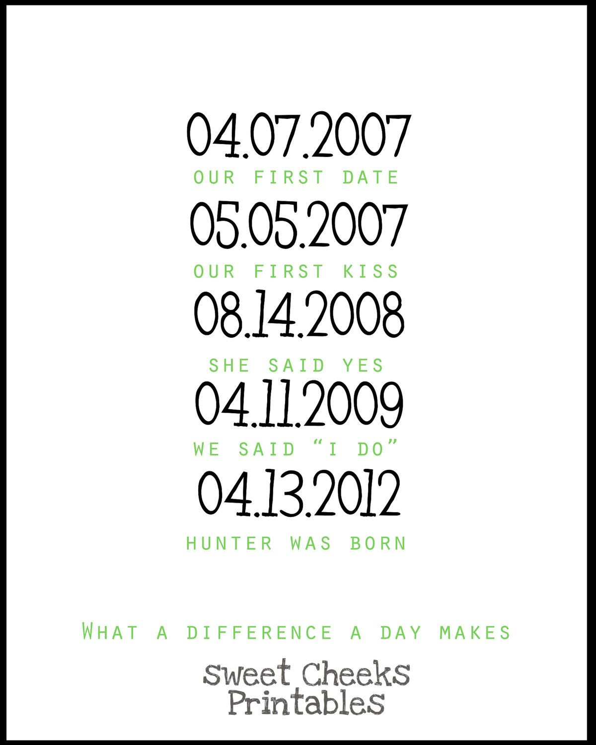 Printable Home Decor Part - 34: What A Difference A Day Makes Important Dates DIY Printable Home Decor.  $3.25
