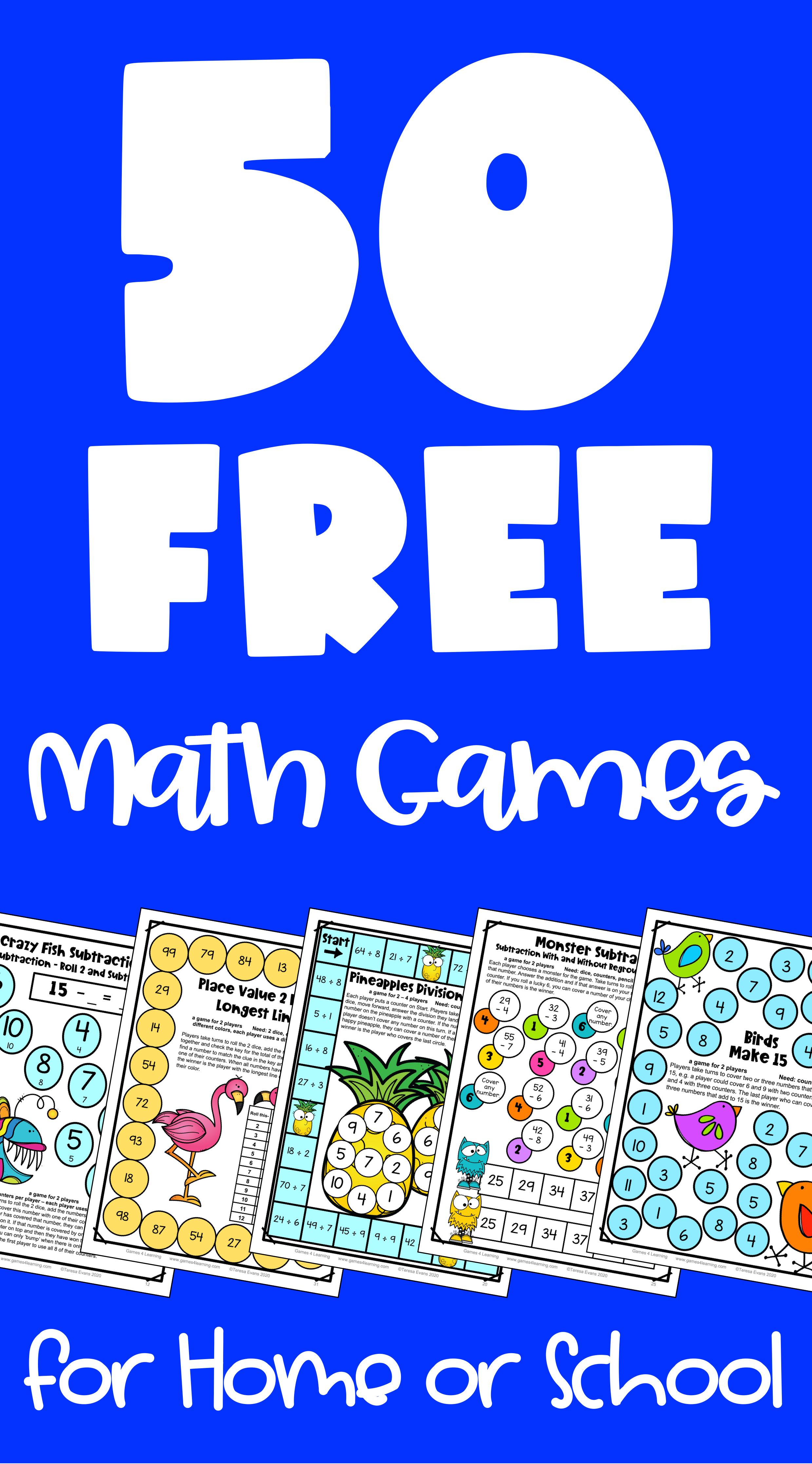 Free Printable Math Games in 2020 Printable math games