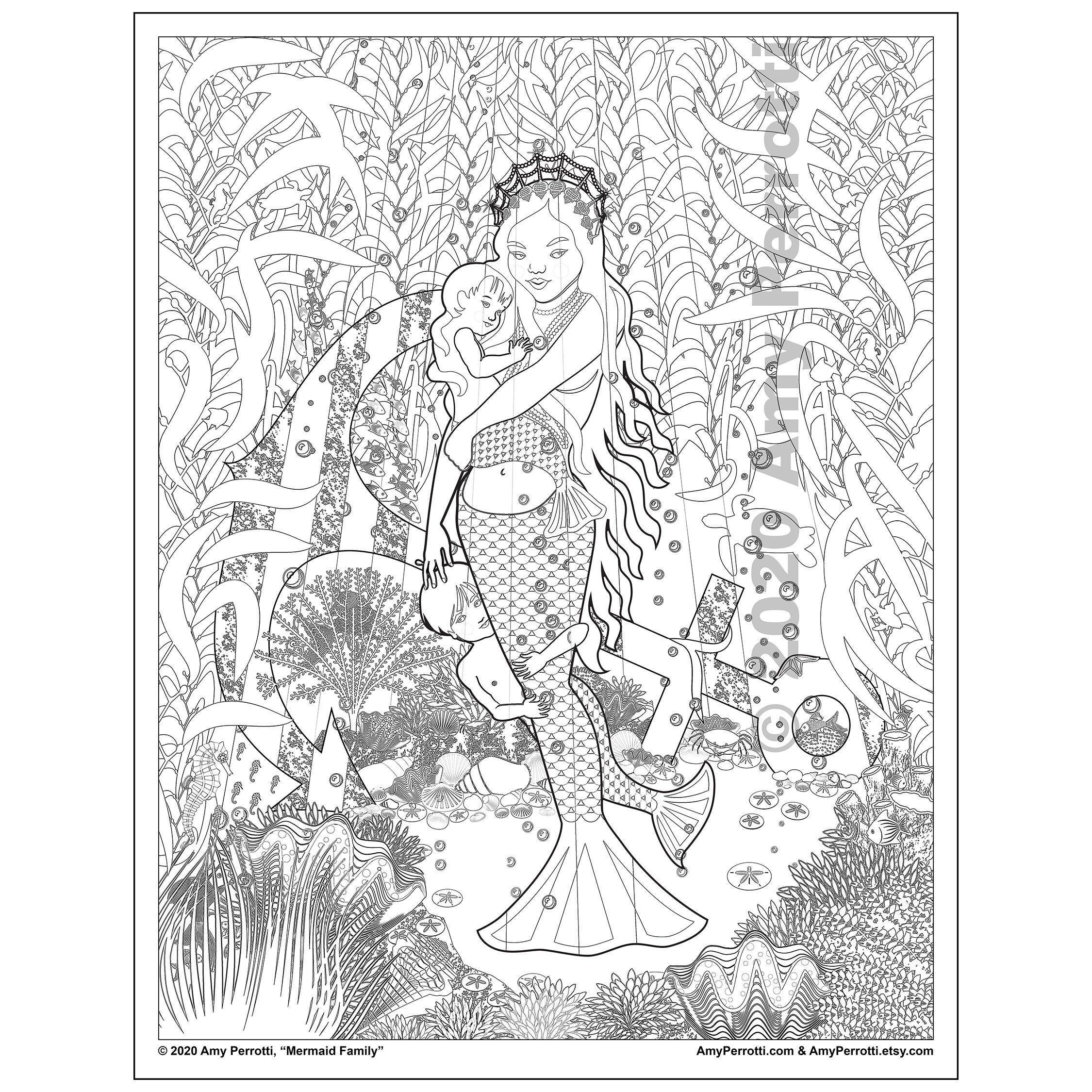 Mermaid Family Coloring Page Printable File Etsy In 2021 Family Coloring Pages Coloring Pages Cool Coloring Pages