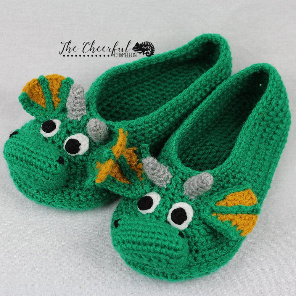 Dragon Crochet Pattern Adult Slipper Pattern Dragon Slipper
