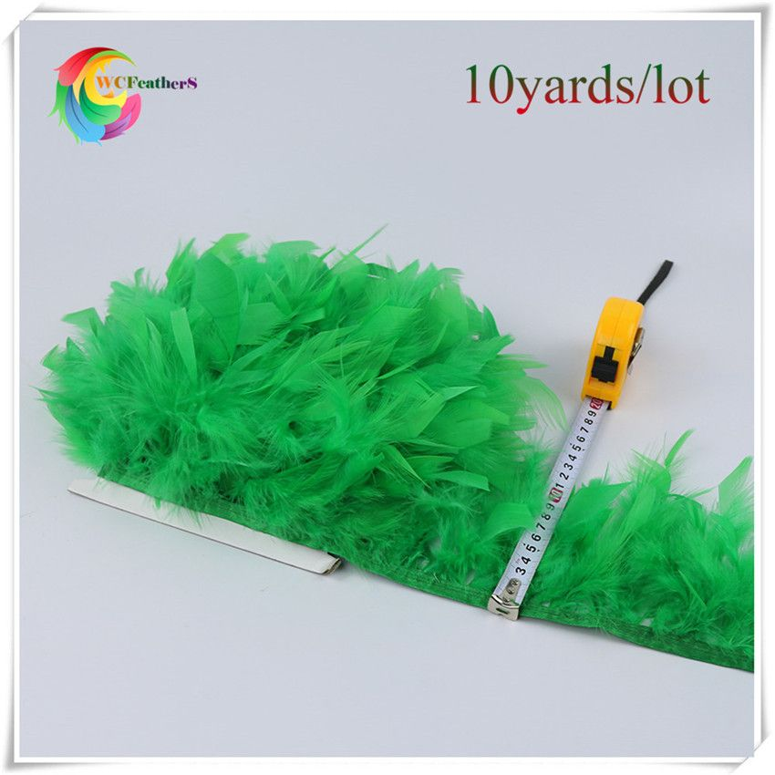 10yards good quality grass green chandelle turkey feather trims for women's costumes