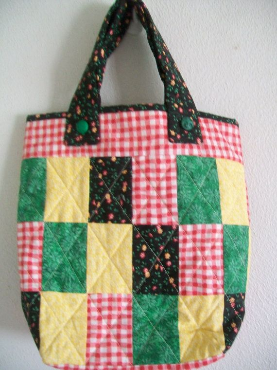 Green Calico Quilted Tote