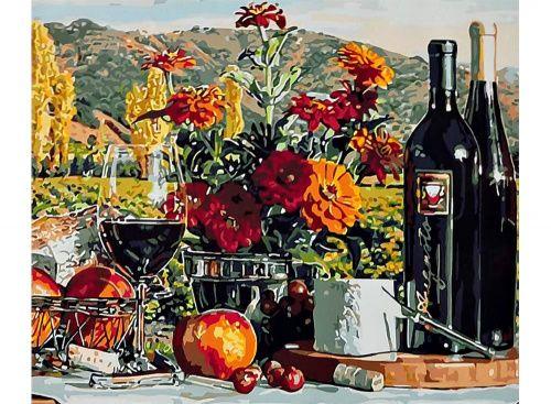 Раскраска по номерам «Натюрморт с вином» Эрика Кристенсена картина по номерам, картина-раскраска по номерам, картины по номерам, paint by numbers, купить картину по номерам, своими руками, дизайн, для подарка, на подарок, качественный набор
