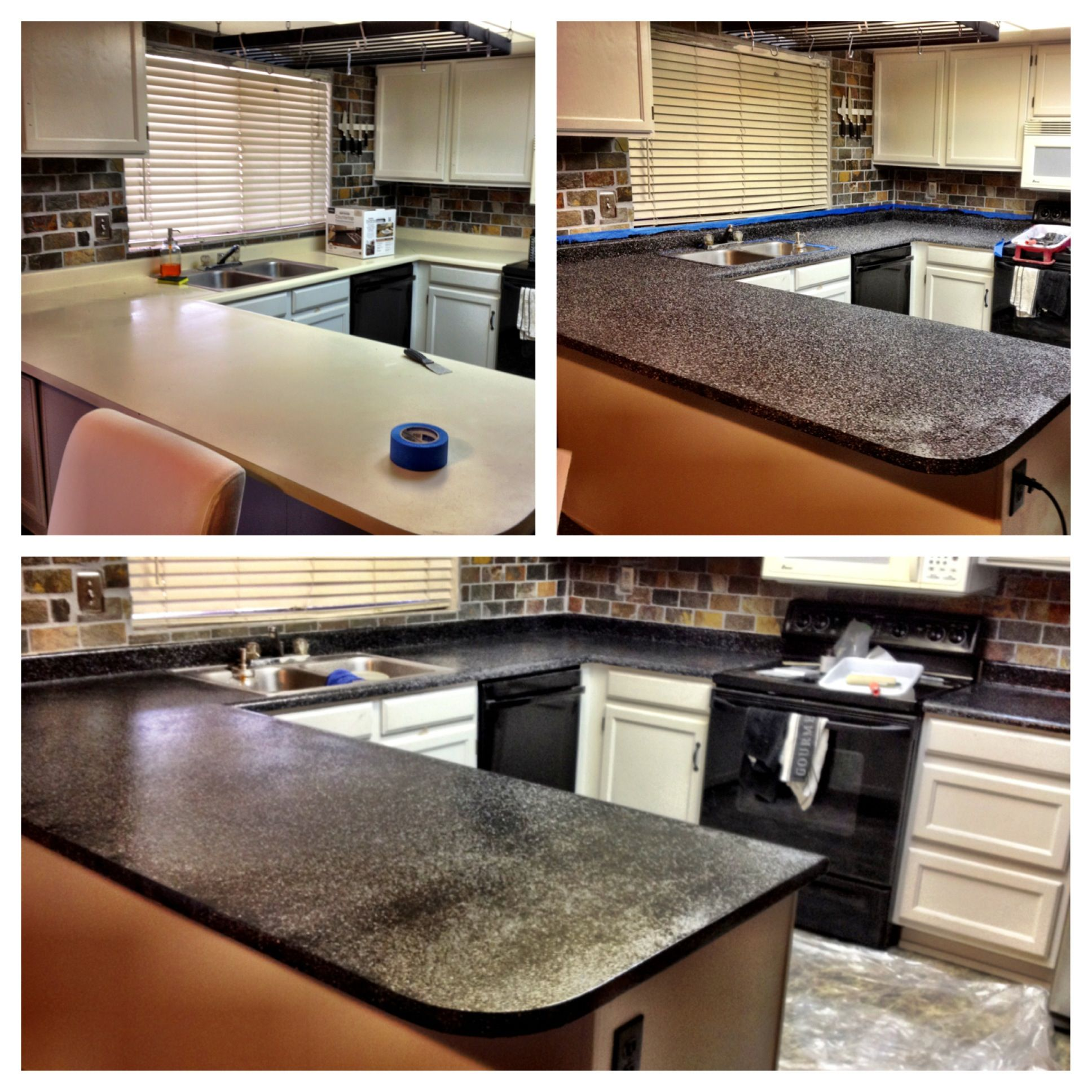 DIY kitchen counter make over that I LOVE Rustoileum kit from home depot =cheap easy and amazing results Painting counter tops dark with white cabinets