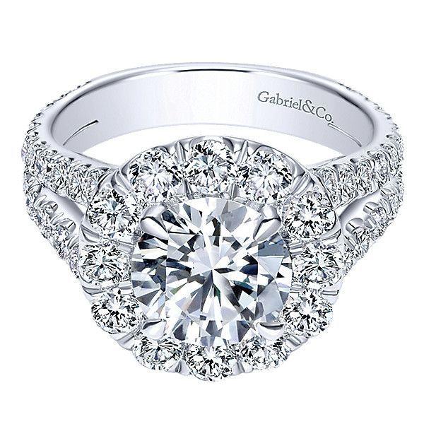 18K White Gold 2cttw Split Shank Halo Diamond Engagement Ring