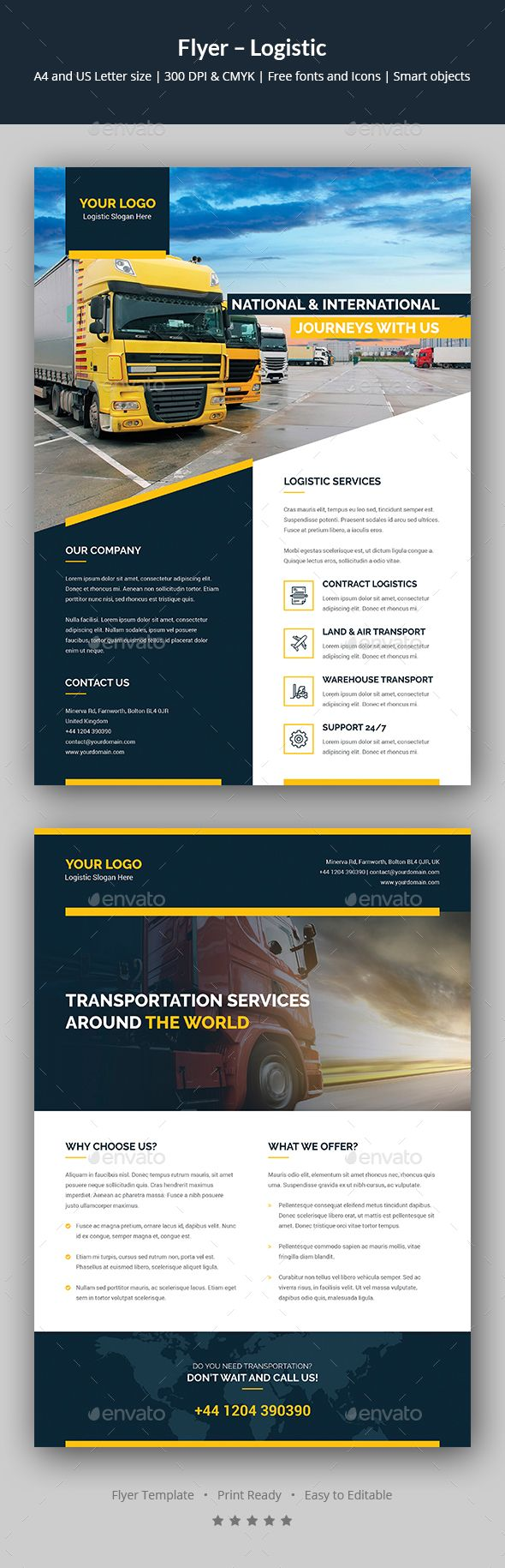 Logistic Flyer Template PSD - A4 and US Letter Size | Flyer