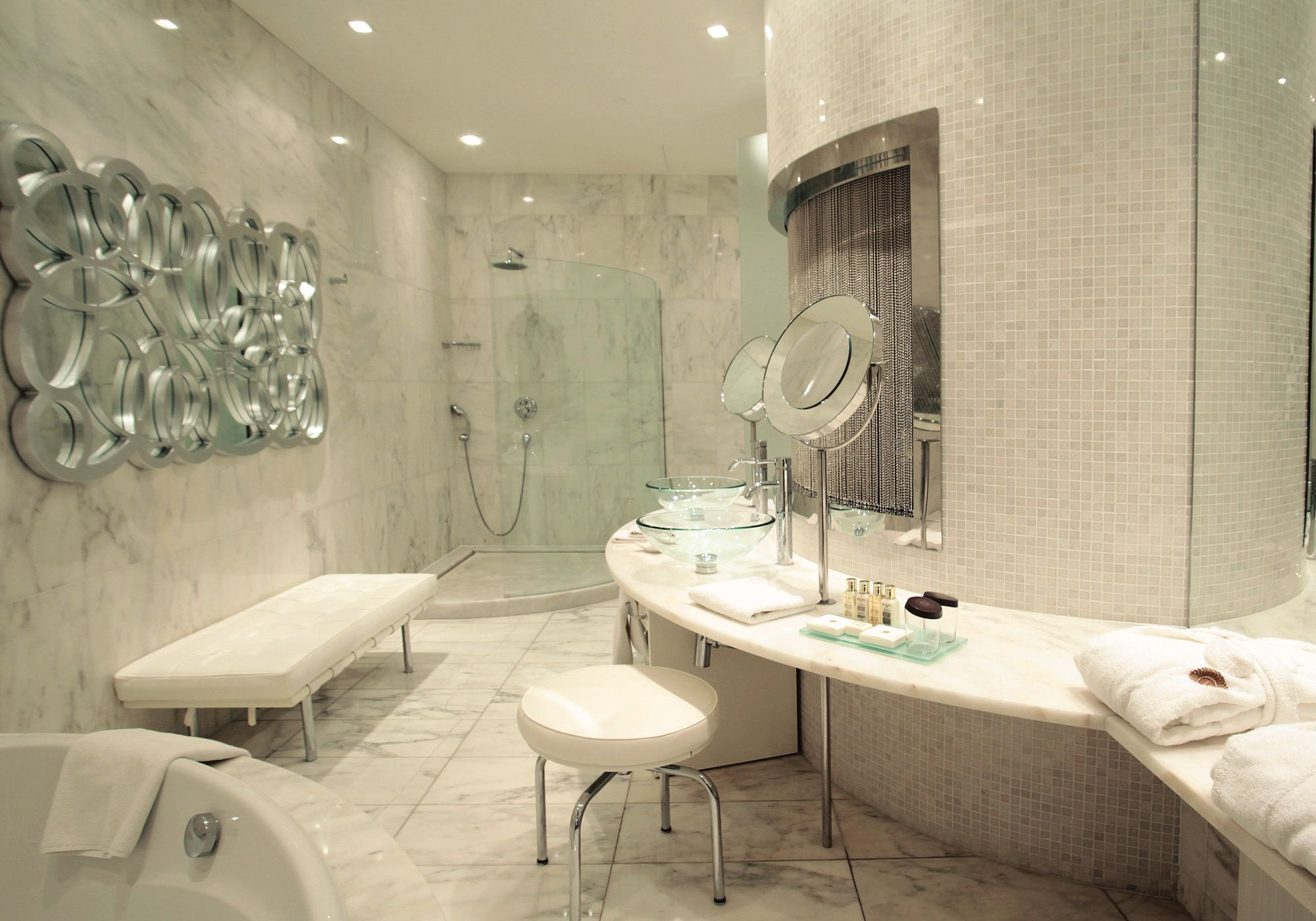Luxury Bathroom Style With Long Vanity Plus Glass Sink On The Top Including  Glass Shower Corner And Mirror Decor On The Wall Plus Lighting Ceiling  Luxury ...