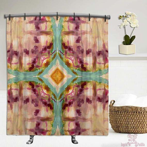 Artsy BOHO Shower Curtain Bohemian Tie Dye Fabric Boho Decor Hippie