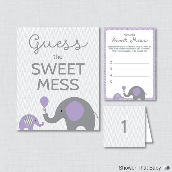 Elephant Baby Shower Diaper Candy Bar Game Printable Guess The
