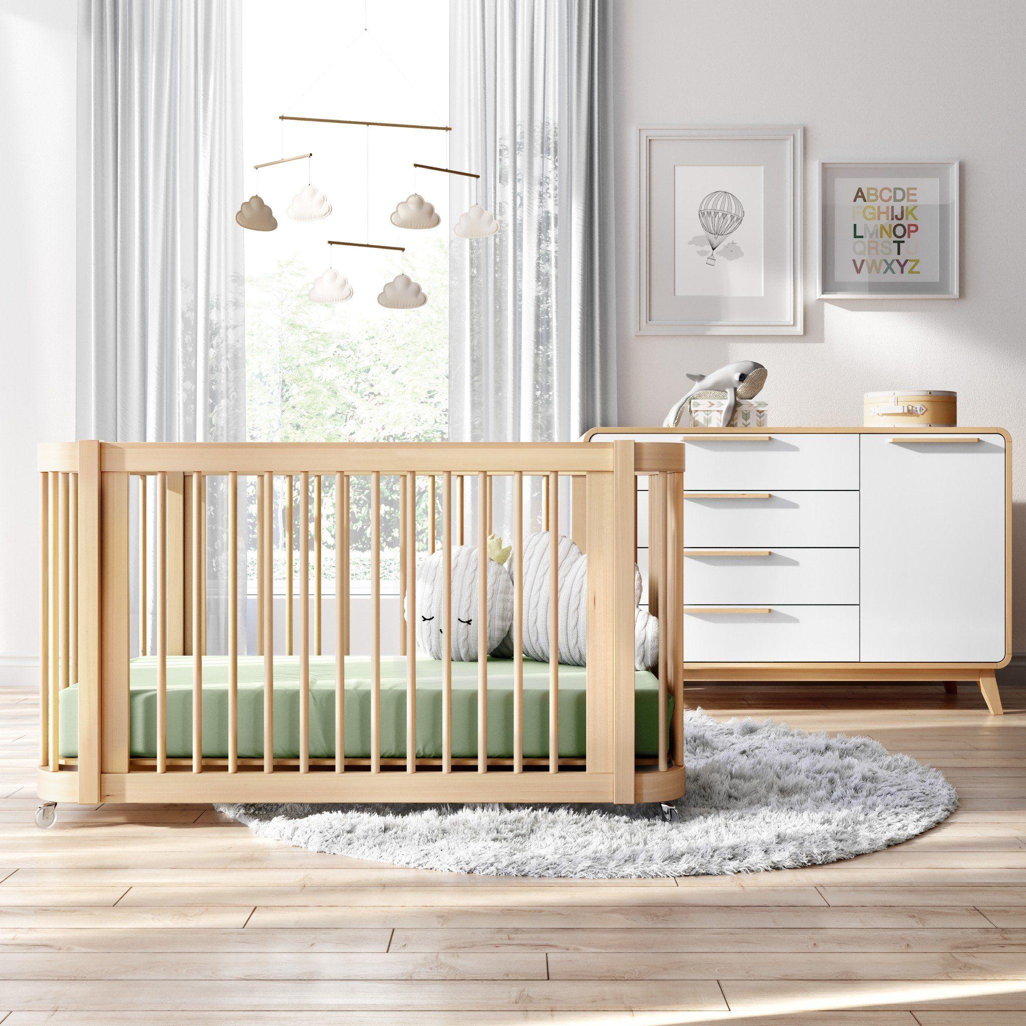 The Wave Crib Natural Wood Modern Convertible Mini Crib And Full Crib With Toddler Bed Nestig In 2020 Cribs Nursery Style Mini Crib