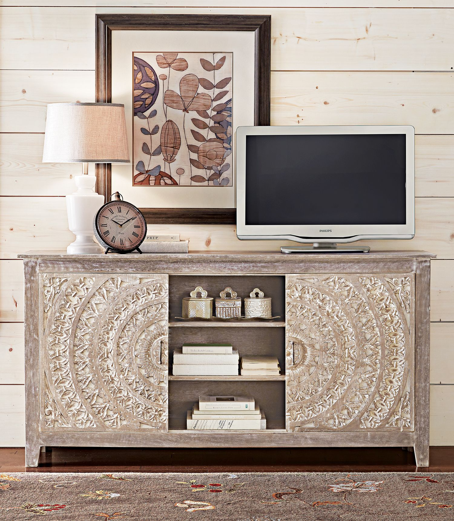 Chennai White Wash Storage Entertainment Center | Living ...