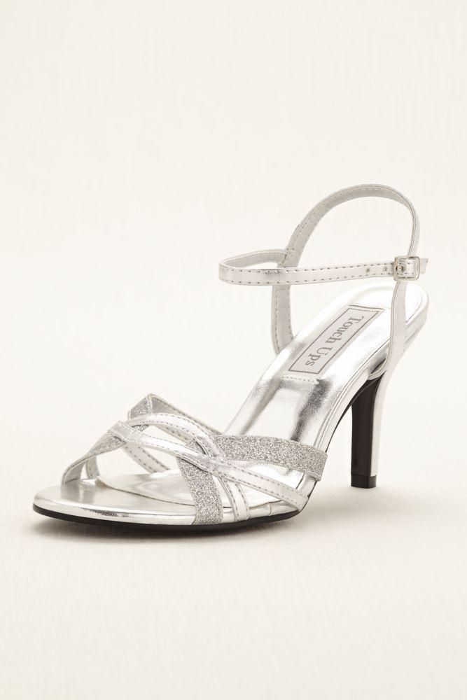 Gold Glitter Taryn Formal Womens High Heel Sandal Shoe 9 Wide