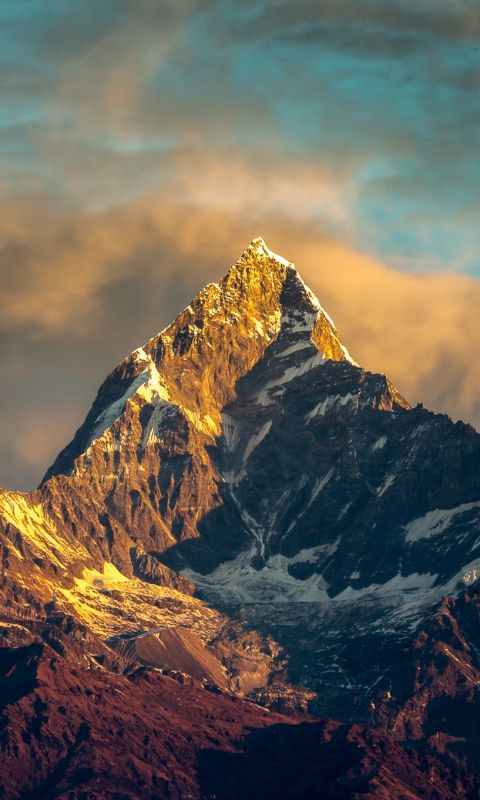 480x800 Wallpaper Annapurna Nepal Himalayas Mountains Sky