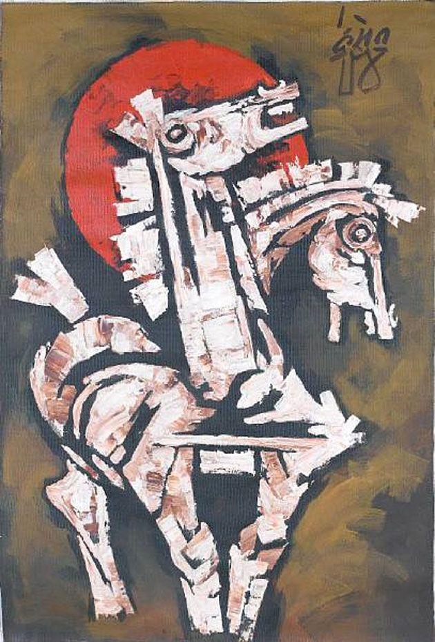 MF Husain's 'Horses Head', acrylic on canvas, signed and ...