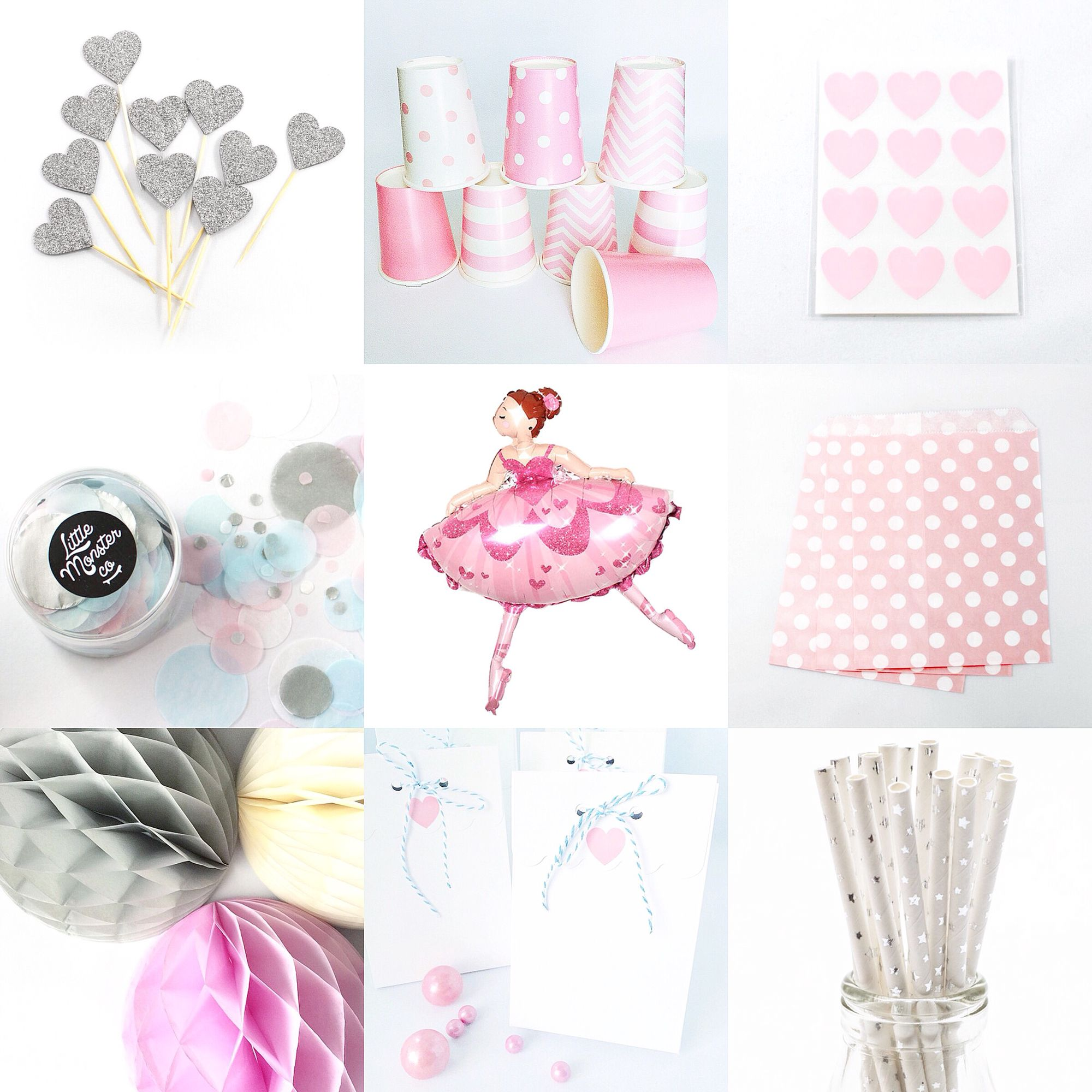 Pretty ballerina party details. All available now at littlemonsterco.com.au