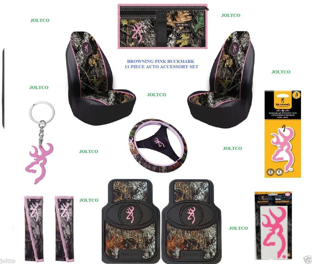 PINK BROWNING BUCKMARK 11 PC CAMO AUTO ACCESSORY GIFT SET FLOOR MATS ...
